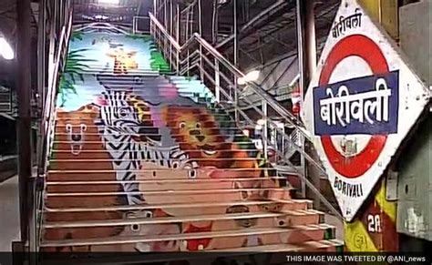 design contest for rail stations makeover a cheetah on the stairs mumbai stations get colourful