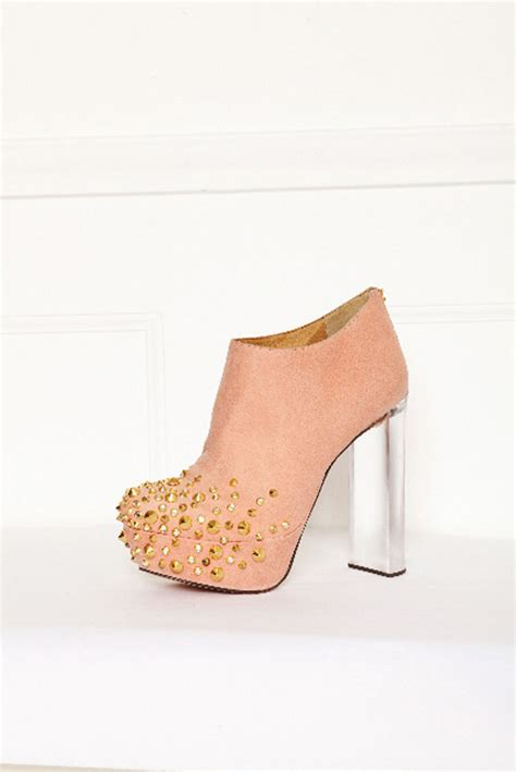 high heel ankle boots pink