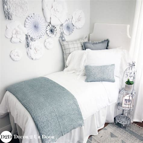 white dorm bedding blue silver metallic white frill farmhouse designer
