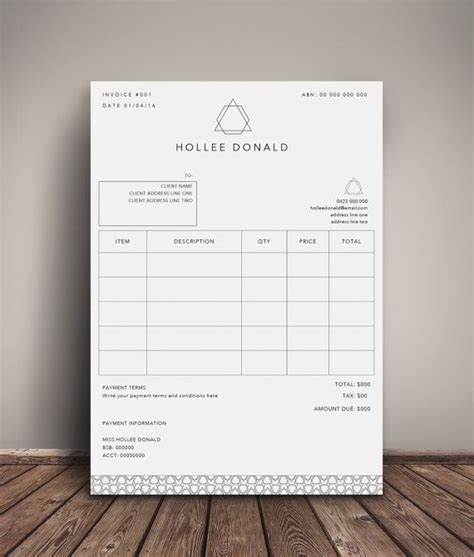 photoshop invoice template invoice template receipt template invoice instant