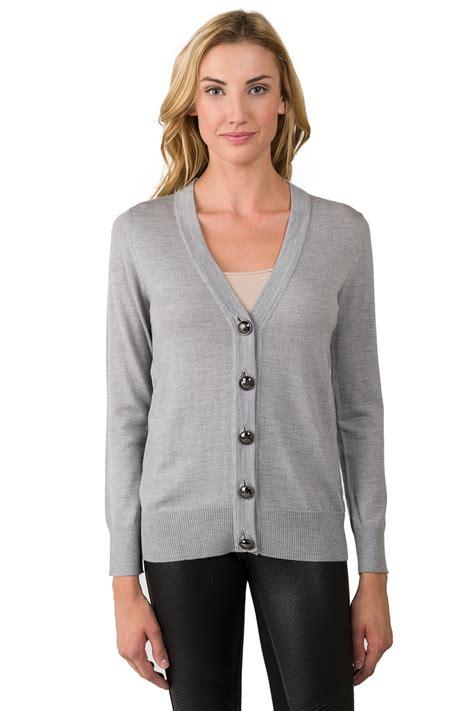 Cardigan Cardigan Grey grey merino wool sleeve v neck cardigan sweater j