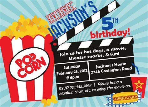 free templates for movie invitations movie birthday party invitations bagvania free printable