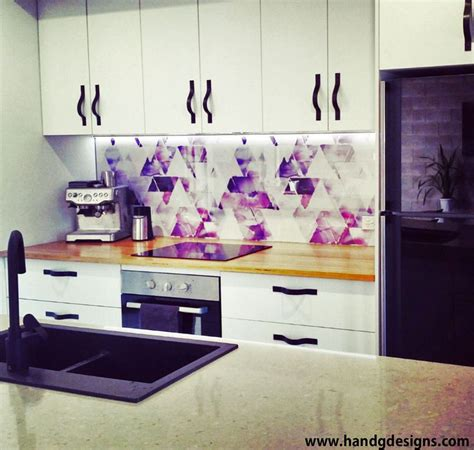 kitchen sink splashback our colourful geometric kitchen splashback under lights