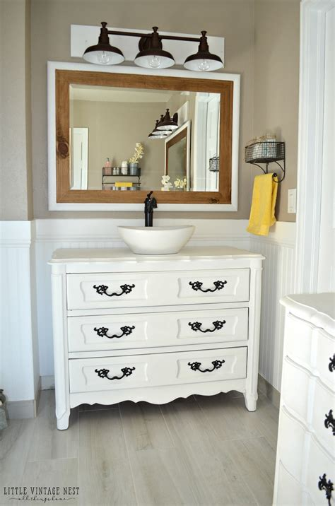 diy bathroom vanity from dresser old dresser turned bathroom vanity tutorial