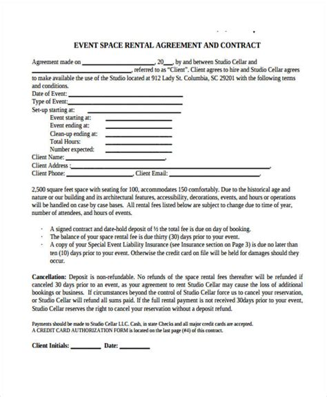 event space rental contract template beautiful event rental agreement template photos resume