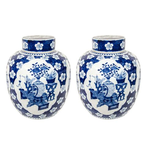 blue and white ginger jars pair of chinese xianfeng blue and white ginger jars at 1stdibs