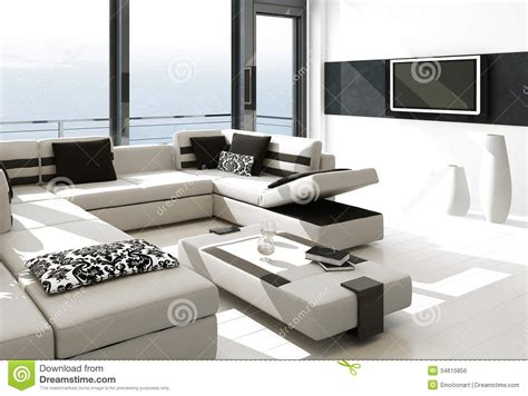White Modern Living Room by Modern White Living Room Interior With Splendid Seascape