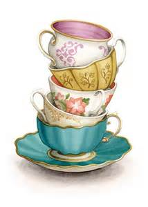 Tea illustration cup art kitchen shelves kitchen art painting prints