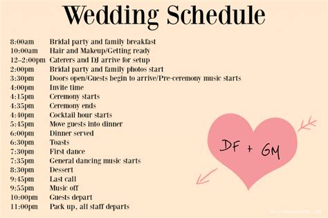pin wedding day timeline template sle format exle on