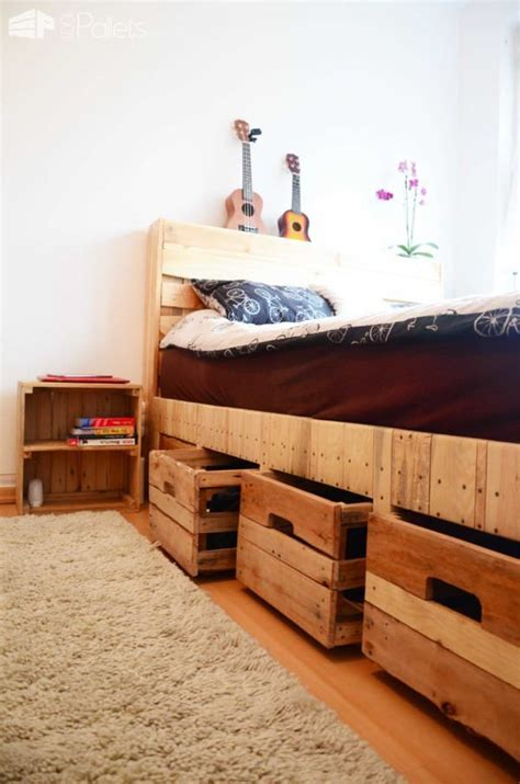 diy pallet bed with drawers pallet wood king size bed with drawers storage diy pallet bedroom pallet bed frames pallet