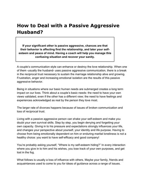 how to aggressive how to deal with a passive aggressive husband