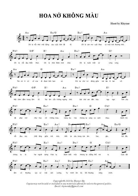 Hợp âm, nốt và lời - Hoa nở không màu - Nguyễn Minh Cường