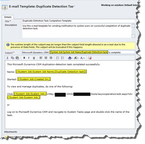 email format domain duplicate detection task completion template crm