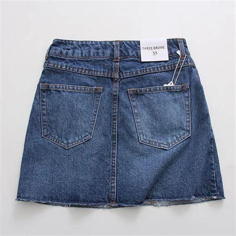 new design denim skirts frayed edge