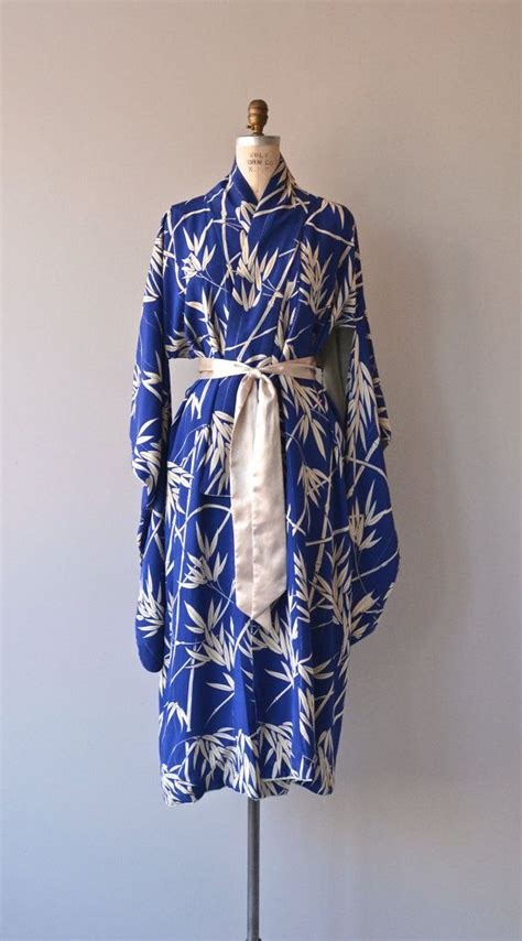 sago palm kimono silk kimono robe vintage japanese by