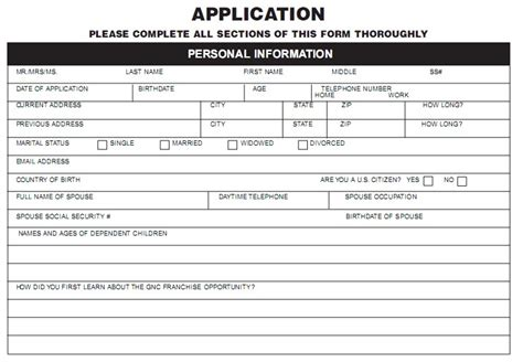 printable job application for gnc gnc job application whitneyport daily com