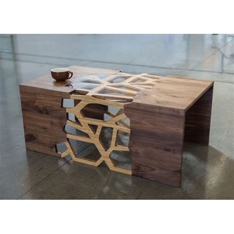 Handcrafted Timber Furniture - now that is a coffee table handmade organic wood mosaic