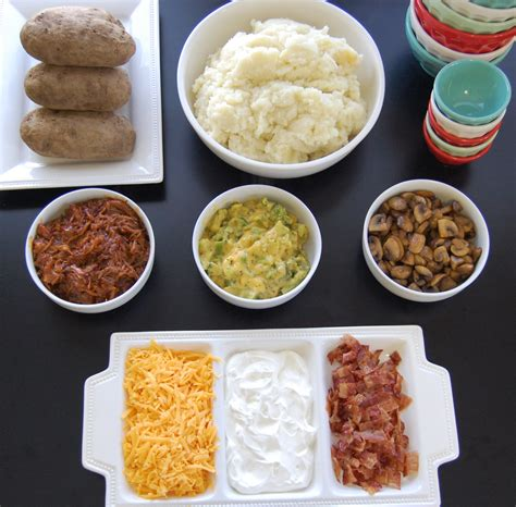 Potato Bar Toppings Idea mashed potato bar