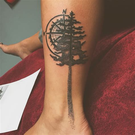 stipple tattoo stipple nw tribute pine tree compass pnw