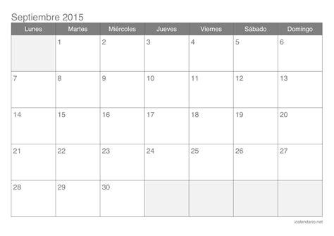 Calendario De Septiembre 2015 Calendario Septiembre 2015 Para Imprimir Icalendario Net