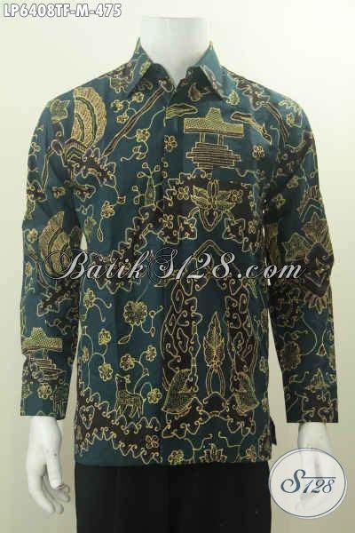 Kemeja Batik Tulis Pria Motif Cirebon Batik Tulis Kinsler Elegan 06 kemeja batik tulis warna hijau dengan motif berkelas