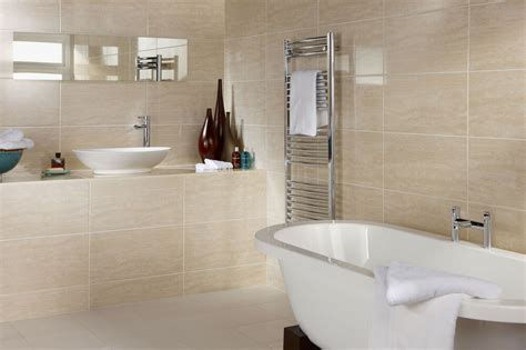 bct dorchester travertine effect ceramic bathroom wall
