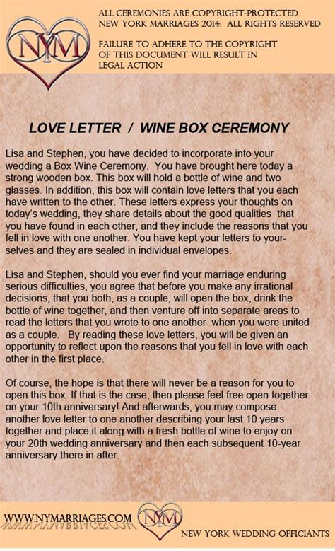 Letter Ceremony Wine Box Letter Ceremony Sle Wedding Ceremonies New York Wedding Officiant