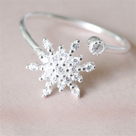 sterling silver sparkle snowflake ring by attic