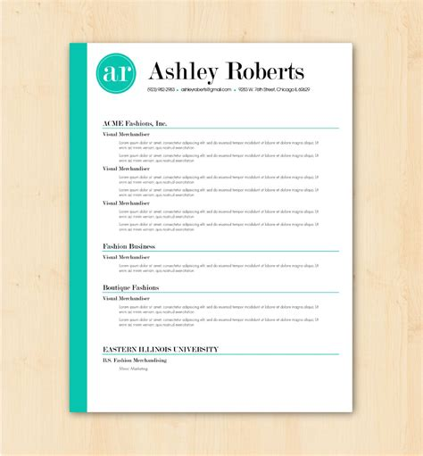 Looking For A Professional Resume Template The Ashley Roberts Design Is For You The Bright Trendy Resume Templates