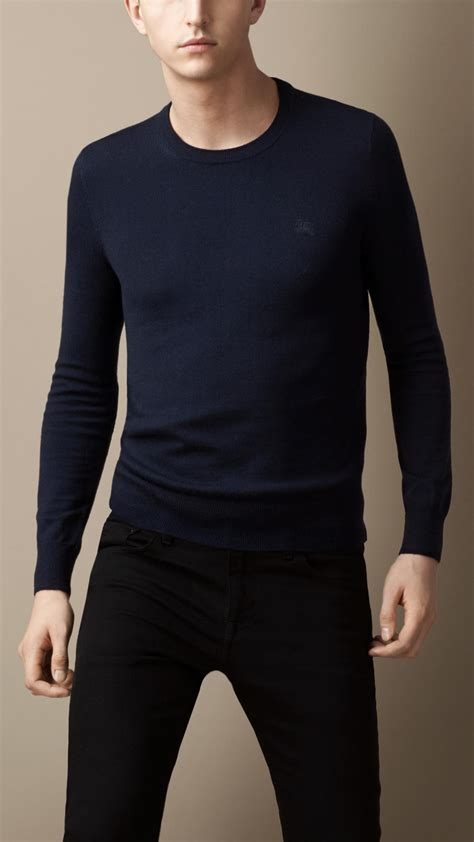 Sweater Patch Suede Leather Navy burberry suede patch sweater in blue for navy lyst