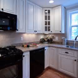 Kitchen With White Cabinets And Black Appliances White Cabinets Black Appliances For The House