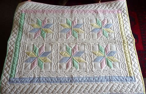 Handmade Baby Quilts For Sale - amish baby blanket 8 pointed starflower