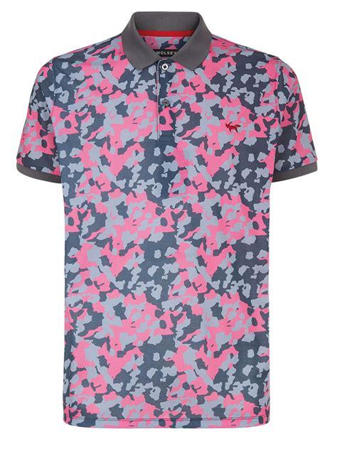 pink pattern shirt wolsey camo pattern polo regular fit polo shirt in pink