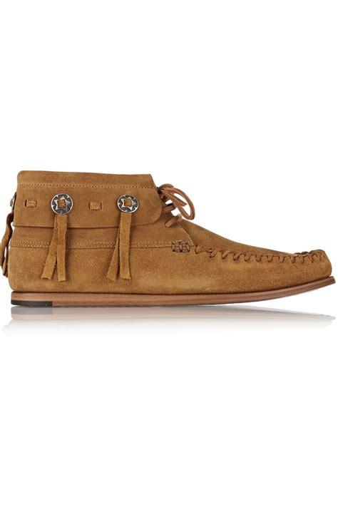 moccasin ankle boots laurent suede moccasin ankle boots in brown lyst