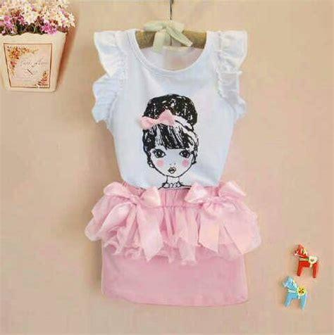 Setelan Baju Anak Perempuan Pink Lucu Cantik 2 4 Thn setelan baju anak perempuan model terbaru murah quot cutie quot
