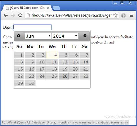javascript format date week build jquery ui datepicker display month year menus in