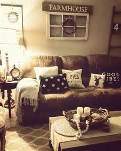 living room farmhouse brown couch