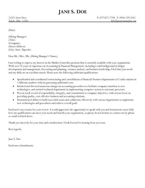 Business Controller Cover Letter by Market Controller Cover Letter