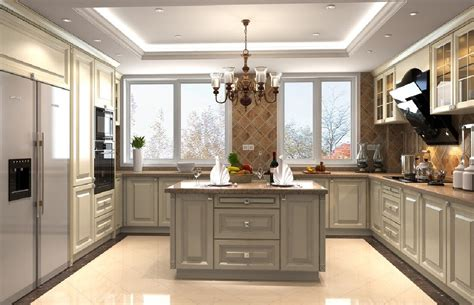 Kitchen Ceiling Design 3d Design Kitchen Suspended Ceiling And Windows