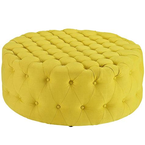 yellow tufted ottoman round tufted fabric ottoman modern furniture brickell
