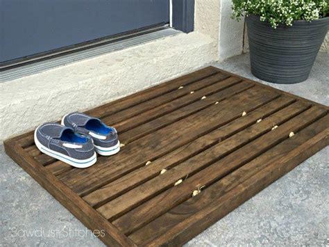 diy wood chair mat wooden doormat sawdust 2 stitches