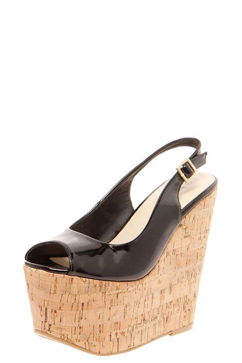 boohoo mollie high cork wedge shoes in black ebay