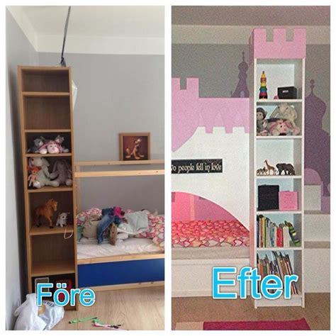 ikea bunk beds hack one of the coolest ikea kura hacks i ve seen bottom bunk with castle tower bookshelves and a