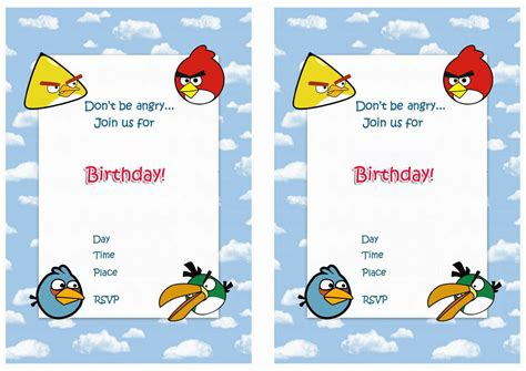 angry birds birthday invitation template free birthday invitation angry birds invitations superb