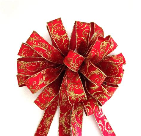 red bow christmas bow christmas tree topper bow