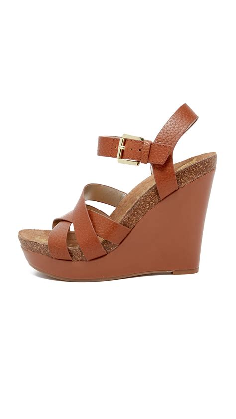 sam edelman nelson wedge sandals in brown lyst