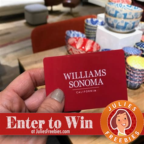 Williams And Sonoma Gift Card - win a 100 williams sonoma gift card julie s freebies