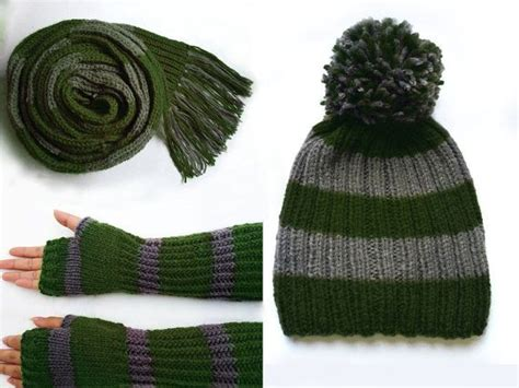 harry potter knit hat harry potter slytherin green and grey knitted scarf by
