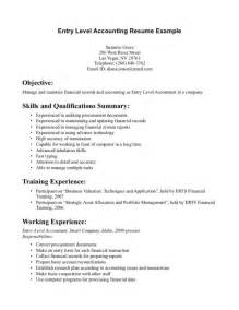 resume exle accounting entry level resume template