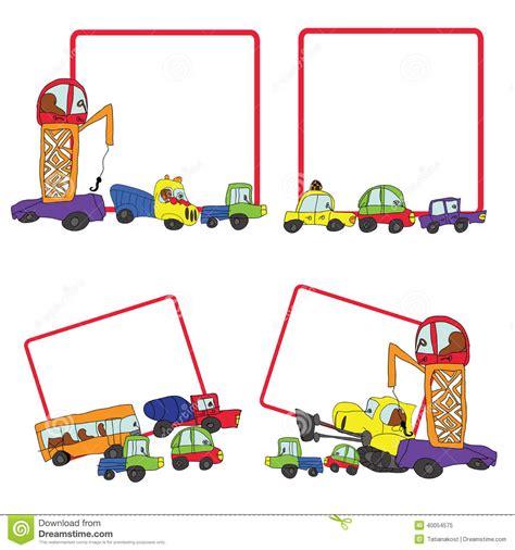 design frame cartoon child s hand draw cars funny doodle square frame set stock